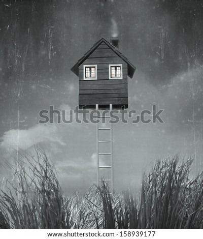 Beautiful surreal artistic image that represent an house flying in the sky with stairs grass and sky in black and white - stock photo