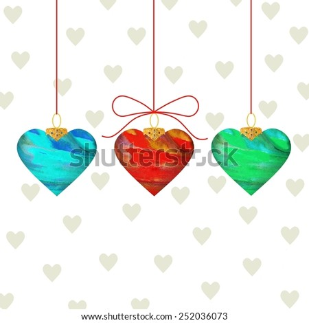 Beautiful suspended hearts on an attractive white background, - stock photo