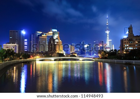 beautiful suzhou river in shanghai at night - stock photo