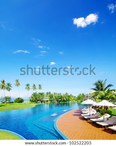 Beautiful swimming pool in Thailand - stock photo