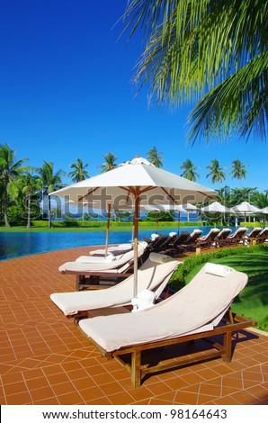 Beautiful swimming pool in Thailand - stock photo
