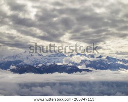 Beautiful Swiss Alps viewed from Mount Pilatus in Switzerland. - stock photo