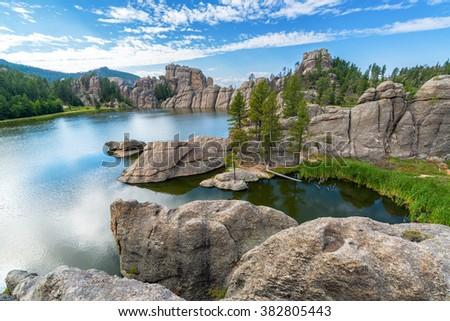 Beautiful Sylvan Lake in Custer State Park - stock photo