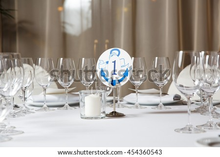 Beautiful table service in restaurant - stock photo