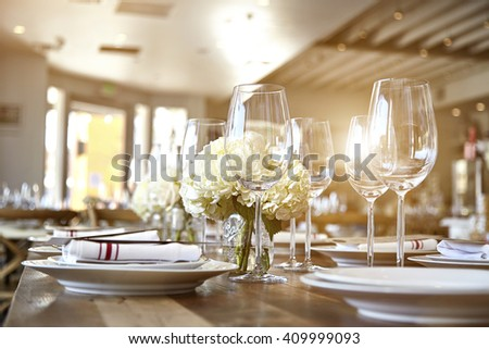 Beautiful table set for some festive event, party  - stock photo