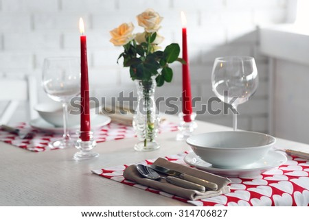 Beautiful table setting close up - stock photo