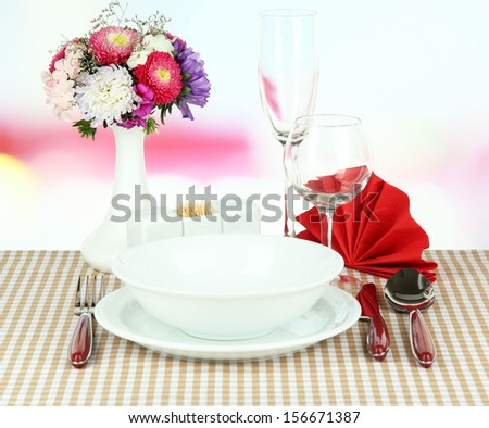 Beautiful table setting for breakfast - stock photo