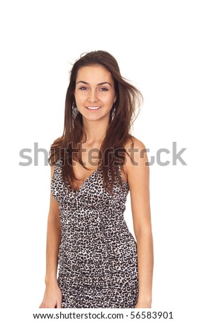 beautiful tanned brunette girl in a dress for cocktails isolated on white - stock photo