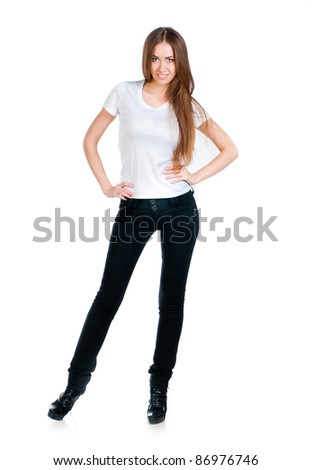 Beautiful teen in a blank white t-shirt for you to add your own text or design - stock photo