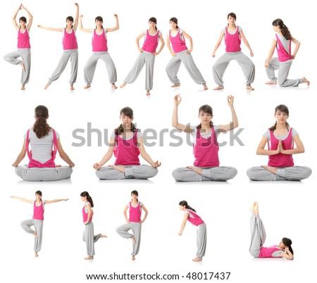 Beautiful teen woman doing yoga exercise , isolated - stock photo
