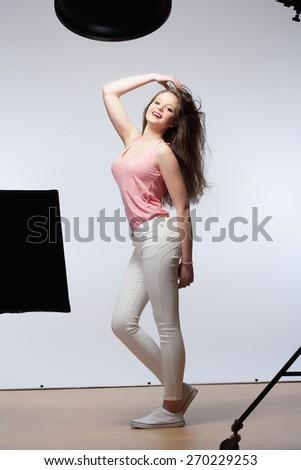 Beautiful Teenage Girl with Long Brown Hair - stock photo