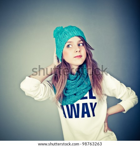beautiful teenager in winter clothes - stock photo