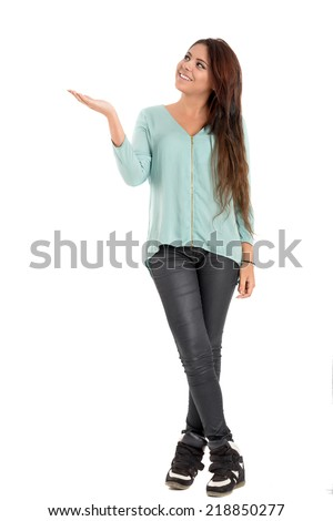 beautiful teenager posing with a positive image - stock photo