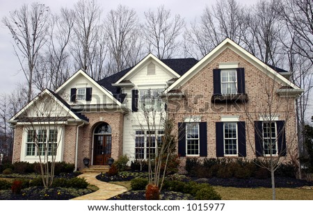 Beautiful Tennessee brick home in the Knoxville area. - stock photo