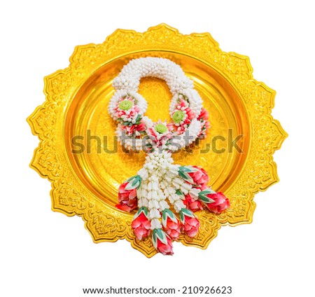Beautiful Thai garland on Thai Gold tray isolated on white background - stock photo