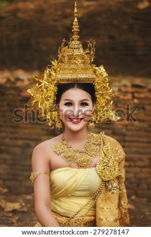 Beautiful Thai lady in Thai traditional drama dress, model is Thai Ethnicity. - stock photo