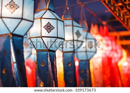 Beautiful thai style lantern, Chiang Mai, Thailand - stock photo