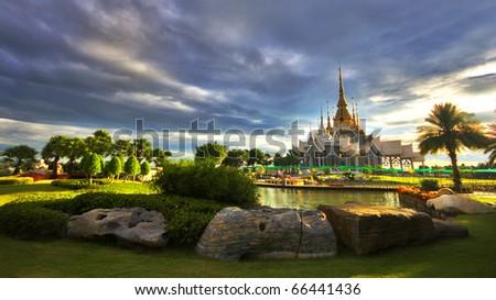 beautiful thai temple - stock photo