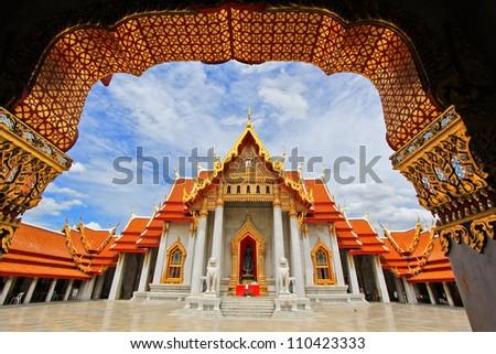 Beautiful Thai Temple Wat Benjamaborphit, temple in Bangkok, Tha - stock photo