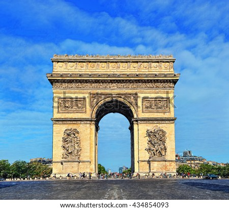 Beautiful the Arc de Triomphe, Paris. Illustration - stock photo