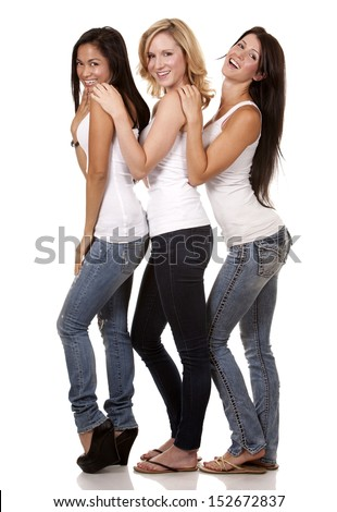 beautiful three women having fun on white background - stock photo
