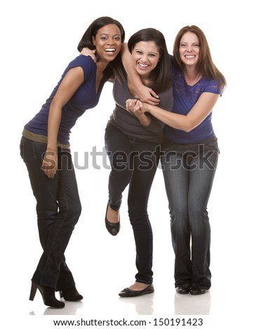 beautiful three women having fun on white isolated background - stock photo