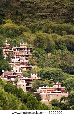 beautiful Tibetan village of Danba, Sichuan, China - stock photo