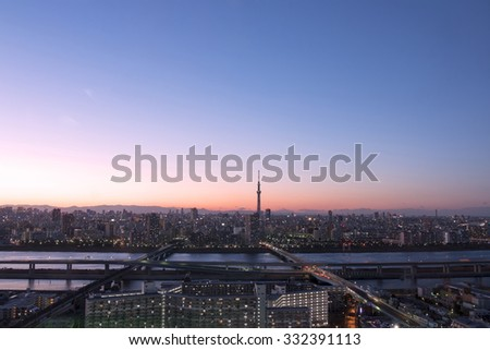 Beautiful Tokyo panoramic view of Tokyo Sky tree just after sunset - stock photo