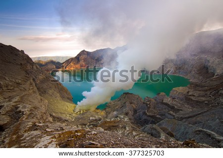 Beautiful  Top view of KAWAH IJEN volcano, INDONESIA. Soft Focus due to Long Exposure Shot. - stock photo