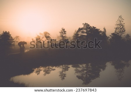Beautiful tranquil landscape of misty swamp lake with mist and boardwalks - retro, vintage style look - stock photo