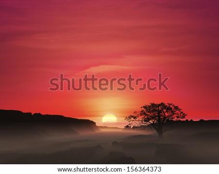 Beautiful tranquil scene during sunset - stock photo