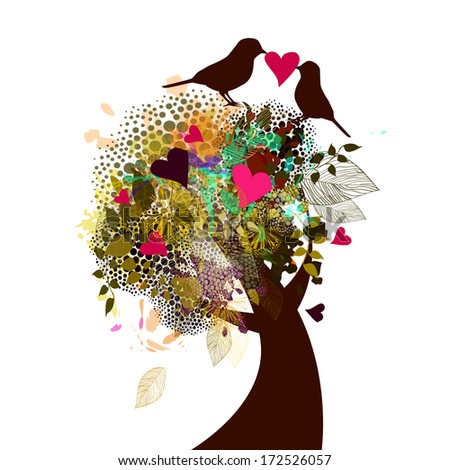 Beautiful tree with flowers, birds with love message. Raster - stock photo