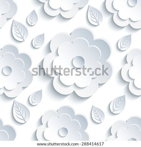 Beautiful trendy nature background seamless pattern with grey - white summer 3d flower and leaves. Floral modern gray wallpaper. Stylish greeting or invitation card. Raster illustration - stock photo