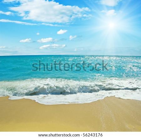 Beautiful tropical beach and sky. - stock photo