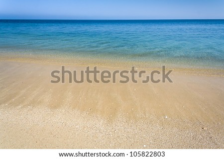 Beautiful tropical beach front of the lagoon - stock photo