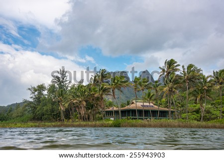 Beautiful tropical beach front property  - stock photo