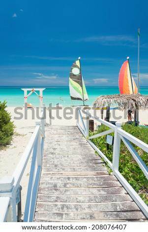 Beautiful tropical beach in Cuba - stock photo