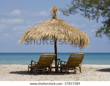 Beautiful tropical beach in Sihanouk Ville, Cambodia - stock photo