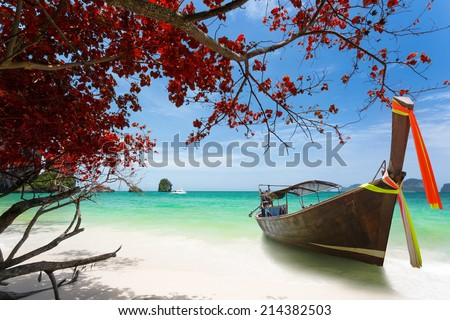 Beautiful tropical beach, Krabi, Thailand - stock photo