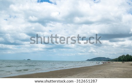 Beautiful tropical beach under gloomy sky. Thailand - stock photo