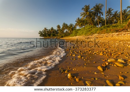 Beautiful tropical beach with coconut palms. Koh Chang. Thailand. - stock photo