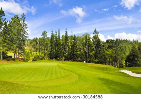 Beautiful Tropical Golf Course - stock photo