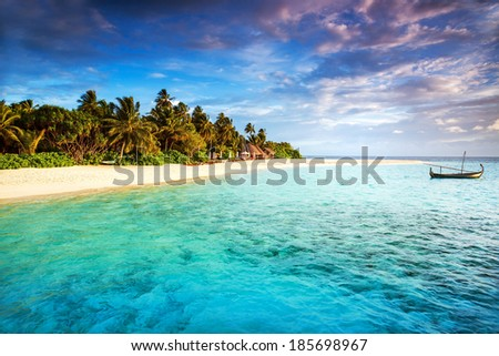 Beautiful tropical island, beach landscape, fishing boat in transparent blue ocean, fresh green palm trees, travel and tourism concept - stock photo