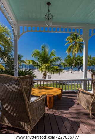 Beautiful tropical ocean view in front of tropical porch - stock photo