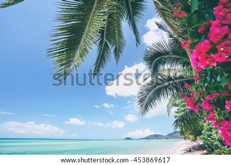 Beautiful tropical seascape with palm leaves and pink flowers. - stock photo