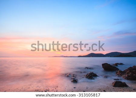 Beautiful tropical sunset landscape beach,Golden Mist sea. - stock photo