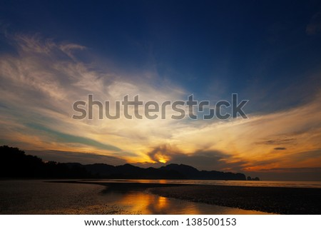 Beautiful tropical sunset over the ocean. Thailand, Krabi - stock photo