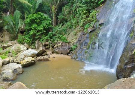 Beautiful Tropical Waterfall in Yelapa, Puerto Vallarta, Mexico. - stock photo