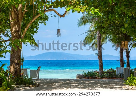 Beautiful tropical white sand beach view - stock photo