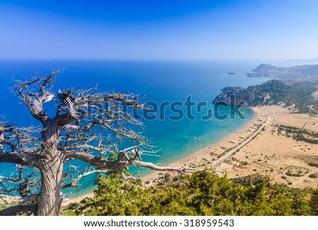 Beautiful Tsambika landscape from mountain west side - stock photo